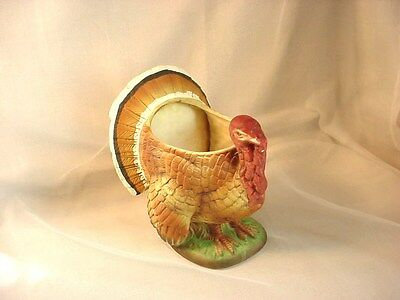 Vtg Wild Turkey Planter 6 inch Hand Painted Ceramic Old Fashioned Inarco Pot