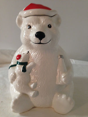"Coca Cola Winter Cookie Jar  Coke Polar Bear made for Teleflora 1998  10.5"" tall"