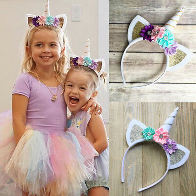 UK Stock Decor Magical Unicorn Horn Head Party Hair Headband Fancy Dress Cosplay