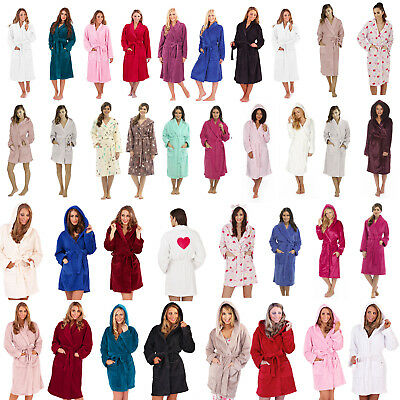 Ladies/Girls Super Soft Hooded Fleece Dressing Gown/Bathrobe/Robe Size 8 - 30