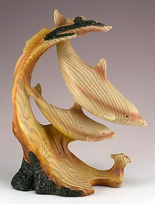 Two Dolphins On Waves Carved Wood Look Figurine Resin 7 Inches High New In Box!