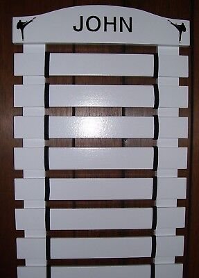 KARATE BELT  DISPLAY RACK 11 SLATS WITH DOCUMENT HOLDER PAINTED BLACK PERSONALIZ