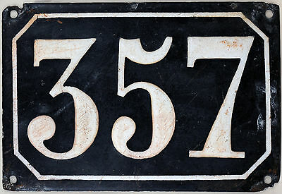 Large old black French house number 357 door gate plate plaque enamel metal sign