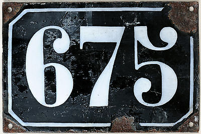 Large old black French house number 675 door gate plate plaque enamel metal sign