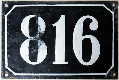 Large old black French house number 816 door gate plate plaque enamel metal sign