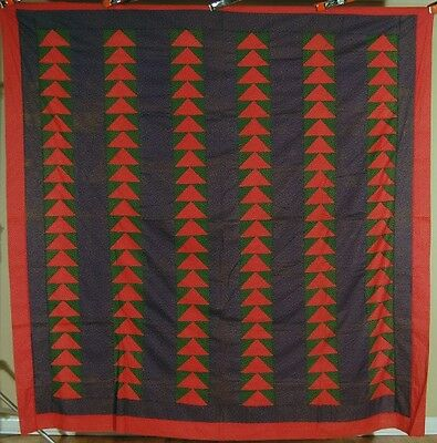 HANDSOME Vintage 1880's Flying Geese Wild Goose Chase Antique Quilt Top!