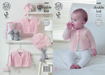 King Cole Baby Pure Double Knitting DK Pattern Raglan Sleeved Cardigan 4907