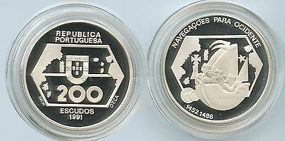 GS635 - Portugal 200 Escudos 1991 KM#659a Silber PROOF Westward Navigation