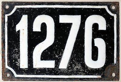 Large old black French house number 1276 door gate wall plate enamel metal sign