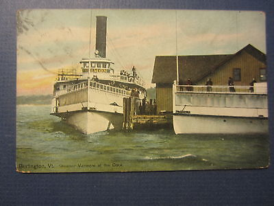 Old Vintage 1909 Steamer VERMONT at Dock - STEAMSHIP POSTCARD - Burlington VT.