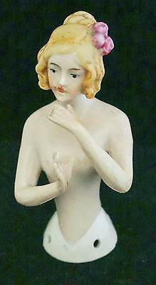 Lovely Antique 1920 Germany Hand Painted Arms Away Half Doll Pincushion