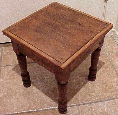 Vintage Antique American Country Sturdy Heavy Solid Wood Square Stool Turn Legs