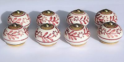 8 x White round with Plum flower (brass fittings) ceramic cupboard knobs pulls