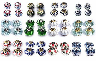 Ceramic Knobs Glass Pulls Handles for door drawer Cabinets Cupboard Wardrobe x4