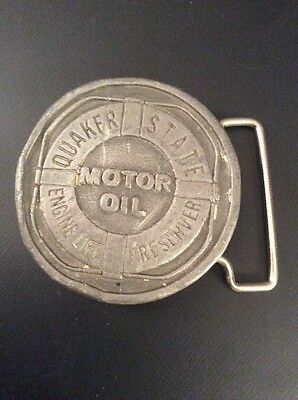 Quaker State Motor Oil Vintage Advertising Belt Buckle by Hit Line