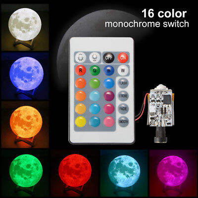 3D Printing Moon Lamp Light Circuit Board Touch Switch USB Remote Control TE783