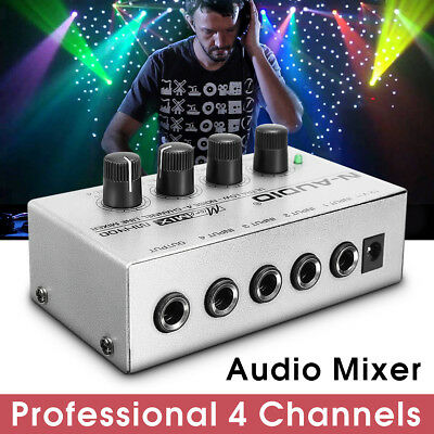 12V Mono Ultra-compact Low Noise 4 Channel Line Mixing Studio Audio Sound Mixer
