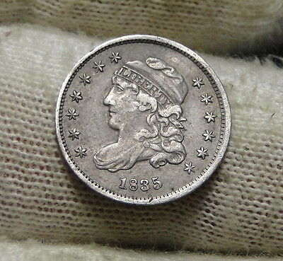 1835 Capped Bust Half Dime H10C 5 Cents - Nice Old Coin, Free Shipping  (5653)