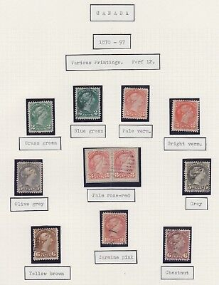 Canada 1870-97 Used 2C-10C Small Queen Colour Shade Selection Of 11 Stamps