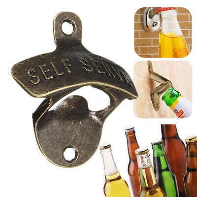 Kitchen Vintage Antique Style Bar Pub Beer Top Bottle Cap Opener Wall Mount Iron