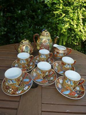 Vinage Satsuma Tea Set Immortals Geisha Girl Fine Delicate China 15 Pieces