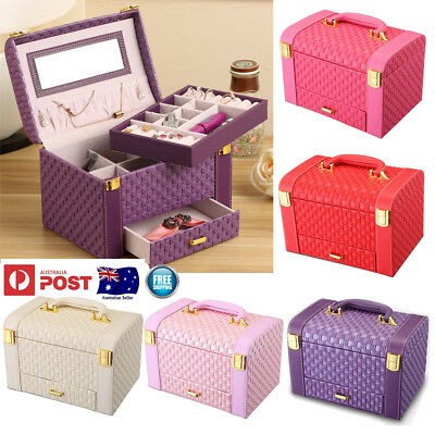 Display Jewelry Box Earring Ring Case Necklace Storage Organizer PU Leather AU