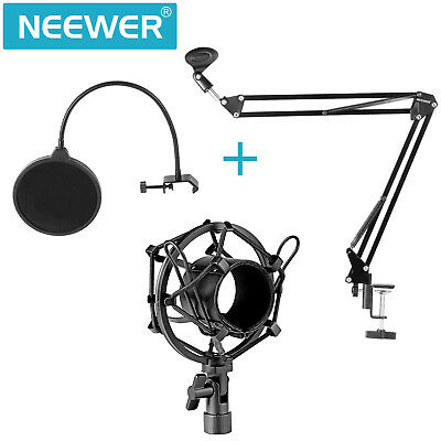 Neewer NB-35 Mic Microphone Stand Boom Holder with Shock Mount Pop Filter Kit
