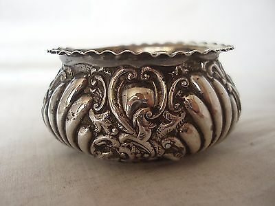 Embossed Spice Bowl Victorian Sterling Silver Birmingham Circa