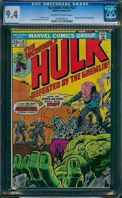 Incredible Hulk # 187  Now my Super-Soldiers shall Slay !  CGC 9.4 scarce book !