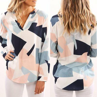 Fashion Womens Summer V Neck Long Sleeve Casual Blouse Loose Cotton Tops T Shirt