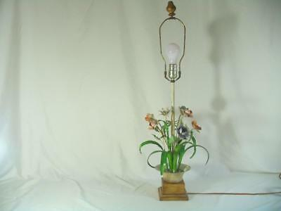 Shabby Tole Painted Table Lamp Italy Bouquet Of Flowers vintage