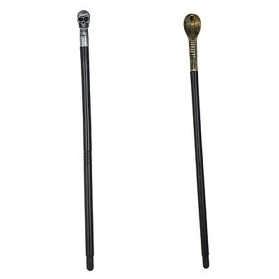 Snake Or Skull Cane Halloween Fancy Dress Party Accessory