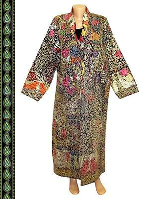 Vintage Gorgeous Uzbek Fully Silk Embroidered Robe Birds A9779