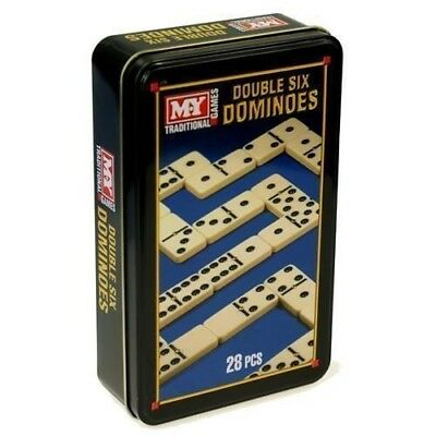 Double 6 Six 28 Piece Dominoes Set Classic Traditional Pub Game In Carry Tin