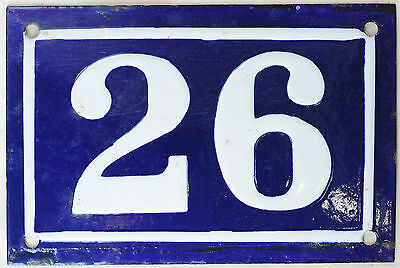 Old blue French house number 26 door gate plate plaque enamel steel sign c1950