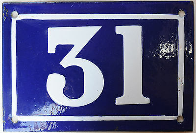 Old blue French house number 31 door gate plate plaque enamel steel sign c1950