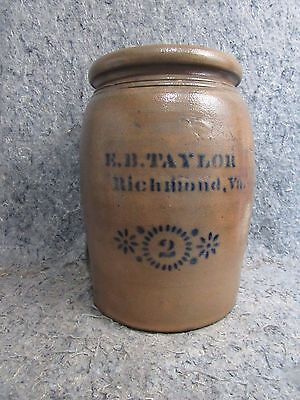 Large Antique 19thC Blue Decorated Stoneware Crock EB Taylor Richmond 2 Gallon