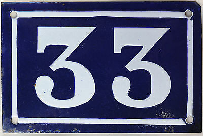 Old blue French house number 33 door gate plate plaque enamel steel sign c1950