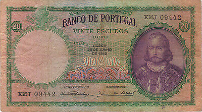 1949 20 Escudos Portugal Currency Banknote Note Money Bank Bill Cash Europe Rare