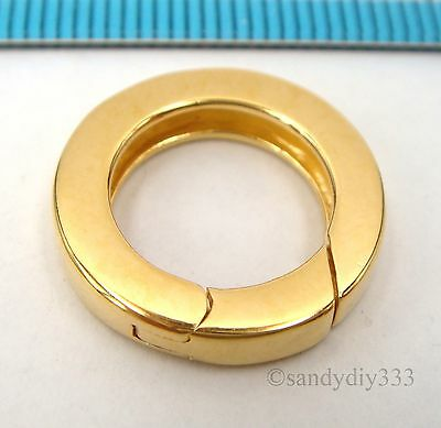 1x REAL 18K GOLD plated STERLING SILVER ROUND SPRING LOBSTER CLASP 17.5mm G213