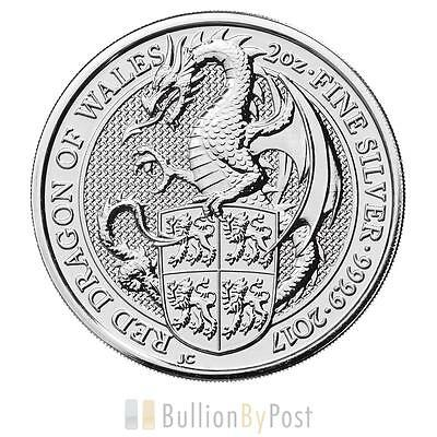 2oz Silver Coin, The Red Dragon- Queens Beast