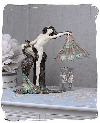 Table Lamp Art Nouveau Light Female Nude Table Luminaire Lamp Woman & Peacock