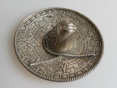 Mexican Sombrero 925 Sterling Silver Vtg Hat Ashtray Jewelry Tray Eagle