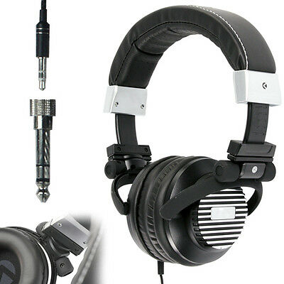3.5mm Stereo Headphones Black On-Ear Quality Cans - Neodymium Driver Bass - MP3