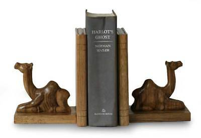 African Wood Bookends Pair 2 Hand Carved 'Sahara Camel' NOVICA Ghana