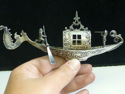 Early 20th Century Italian 800 Fine Silver Miniature Standing Gondola