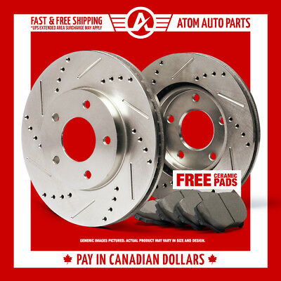 2010 VW Jetta A5 (See Desc.) Slotted Drilled Rotor & Ceramic Pads Front