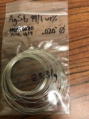 One meter of Silver/Antimony wire 99/1 2g ACI ALLOYS