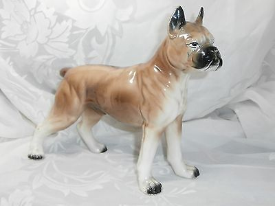 Large Vintage Porcelain Boxer Dog Figurine Brown, Black & White Japan