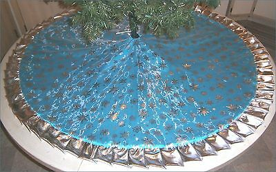 "Christmas Tree Skirt ~ 57"" ~  Icy Turquoise with Silver Metallic Snowflakes"